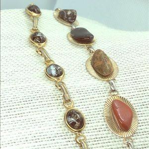Boho Chic Bracelet VINTAGE Gold Toned GEM STONES